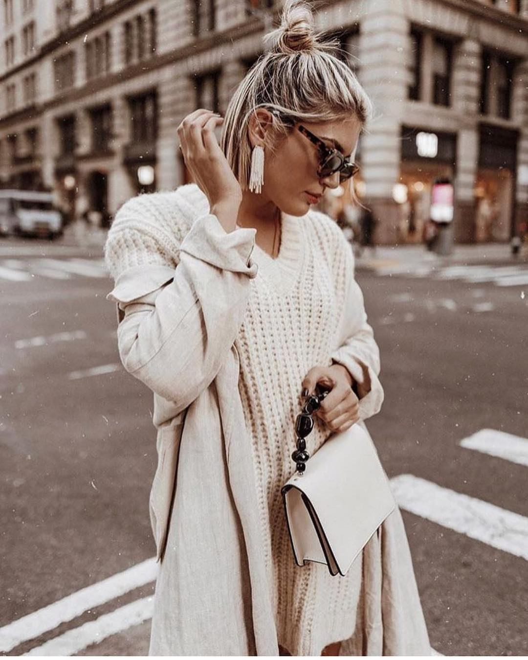 All White Outfit Idea For Fall: White Coat And White Sweater Dress 2019