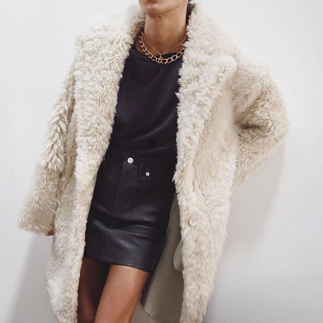 White Fur Coat With Black Tee And Black Leather Skirt 2020