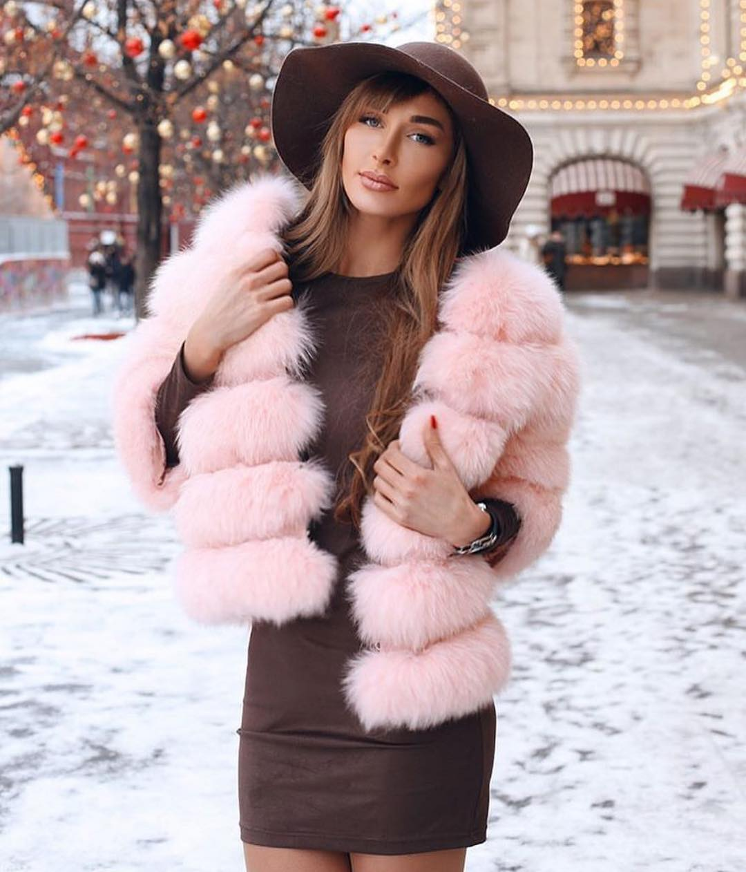 Blush Fur Jacket And Brown Leather Skirt For Fall 2020