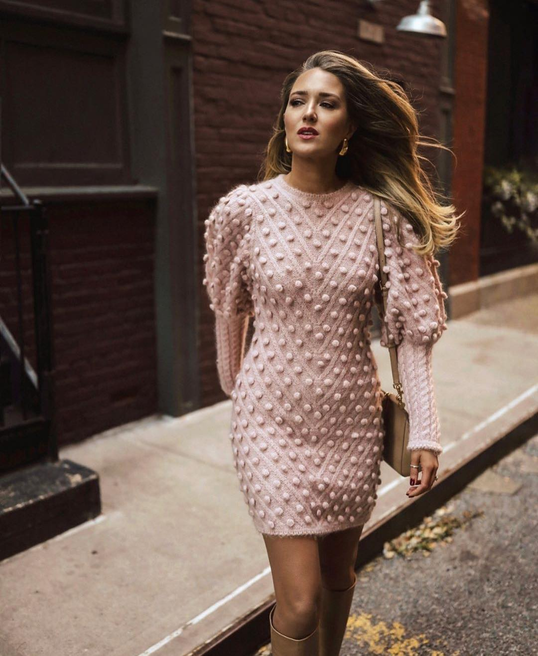 Blush Sweaterdress With Puff Sleeves For Spring In London 2019