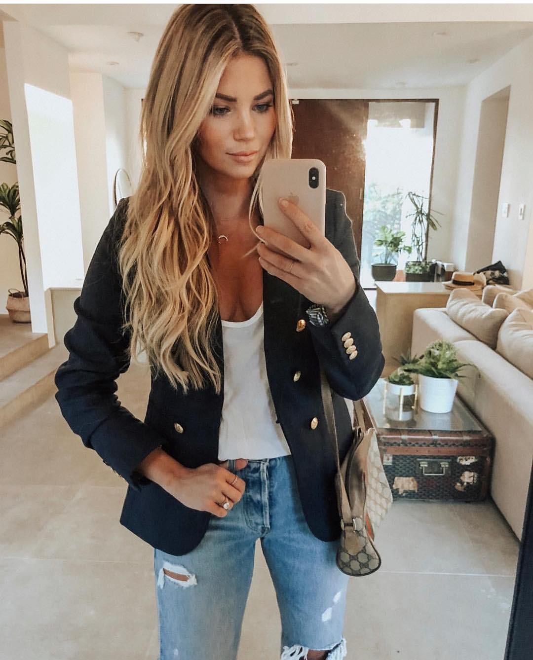 Navy Blazer With Gold Buttons And Knee Ripped Jeans For Summer 2019