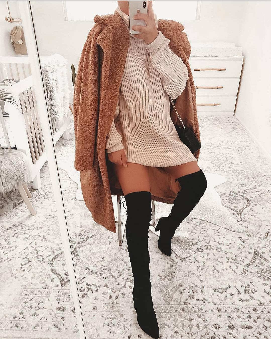 Can I Wear Teddy Bear Coat With Suede OTK Boots For Fall 2020
