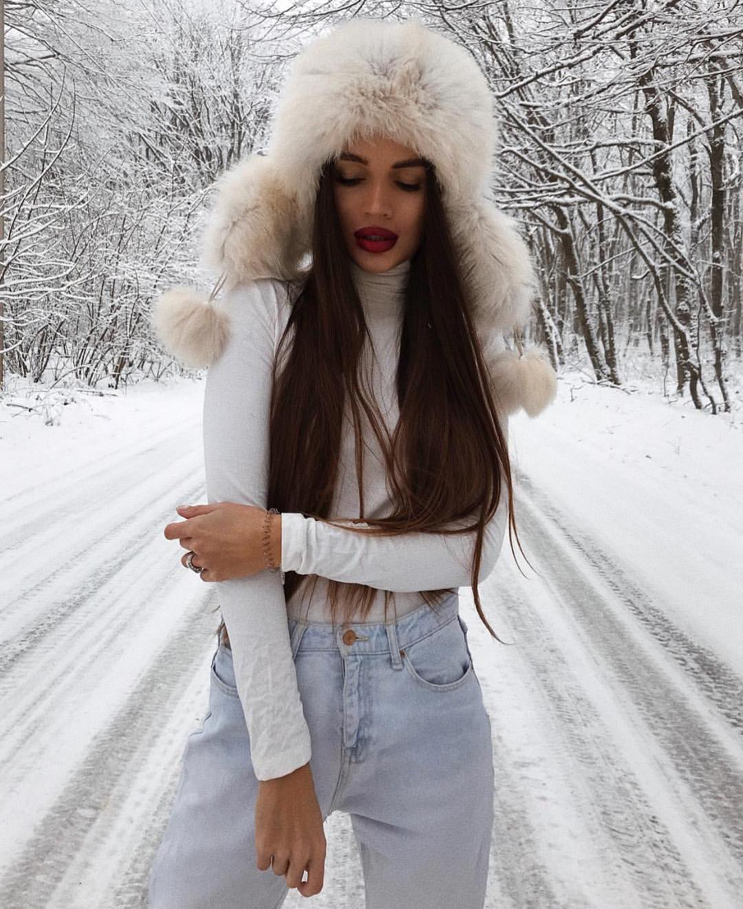 White Fur Trapper Hat For Winter 2019