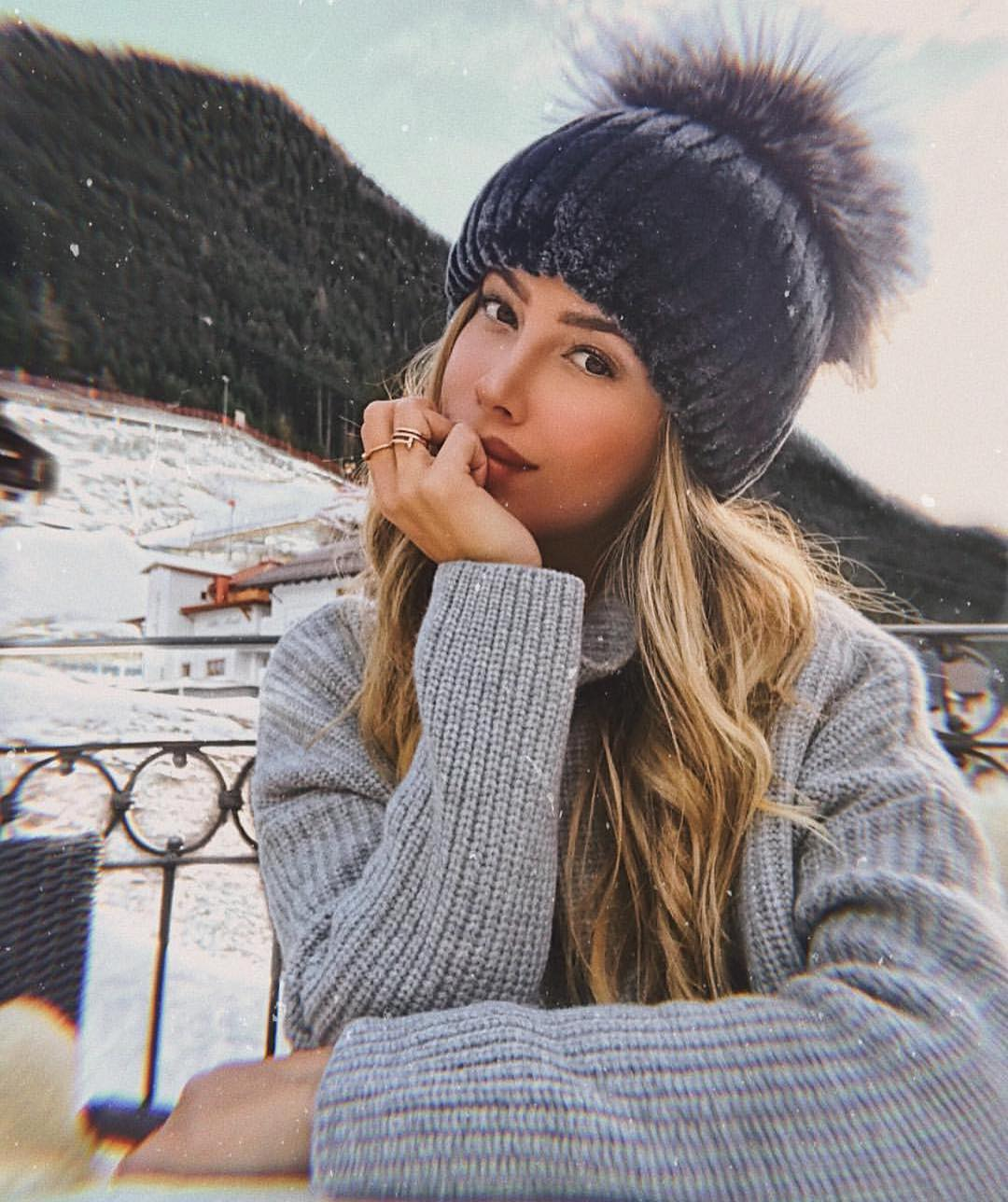 Dark Grey Beanie With Fur Pom-Pom For Winter 2019
