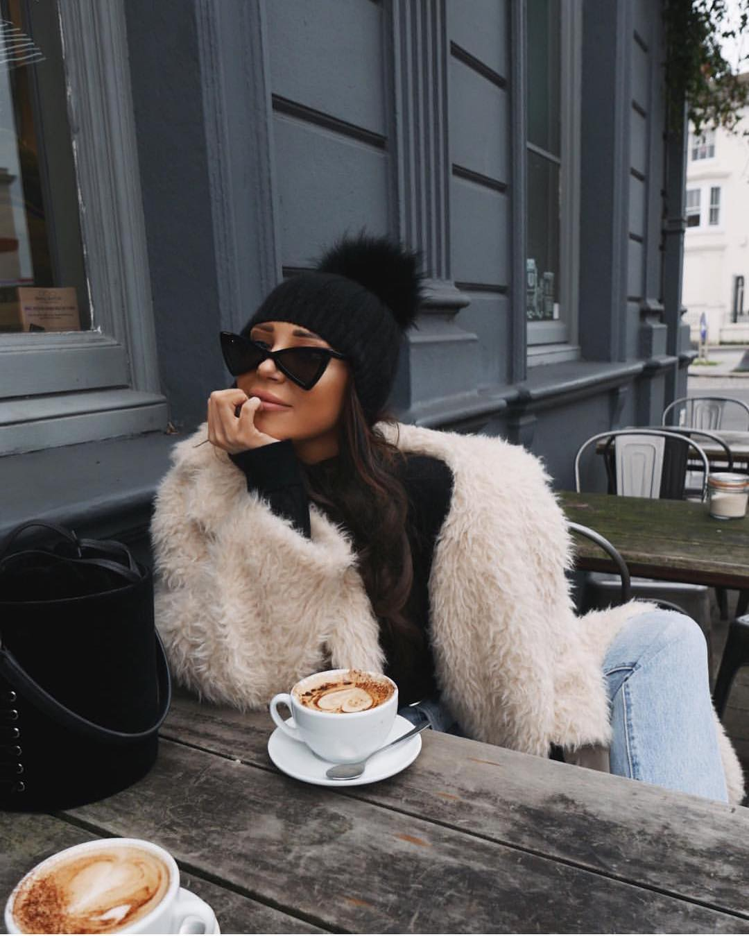 Vintage Triangle Sunglasses With Black Beanie And Furry Jacket 2019