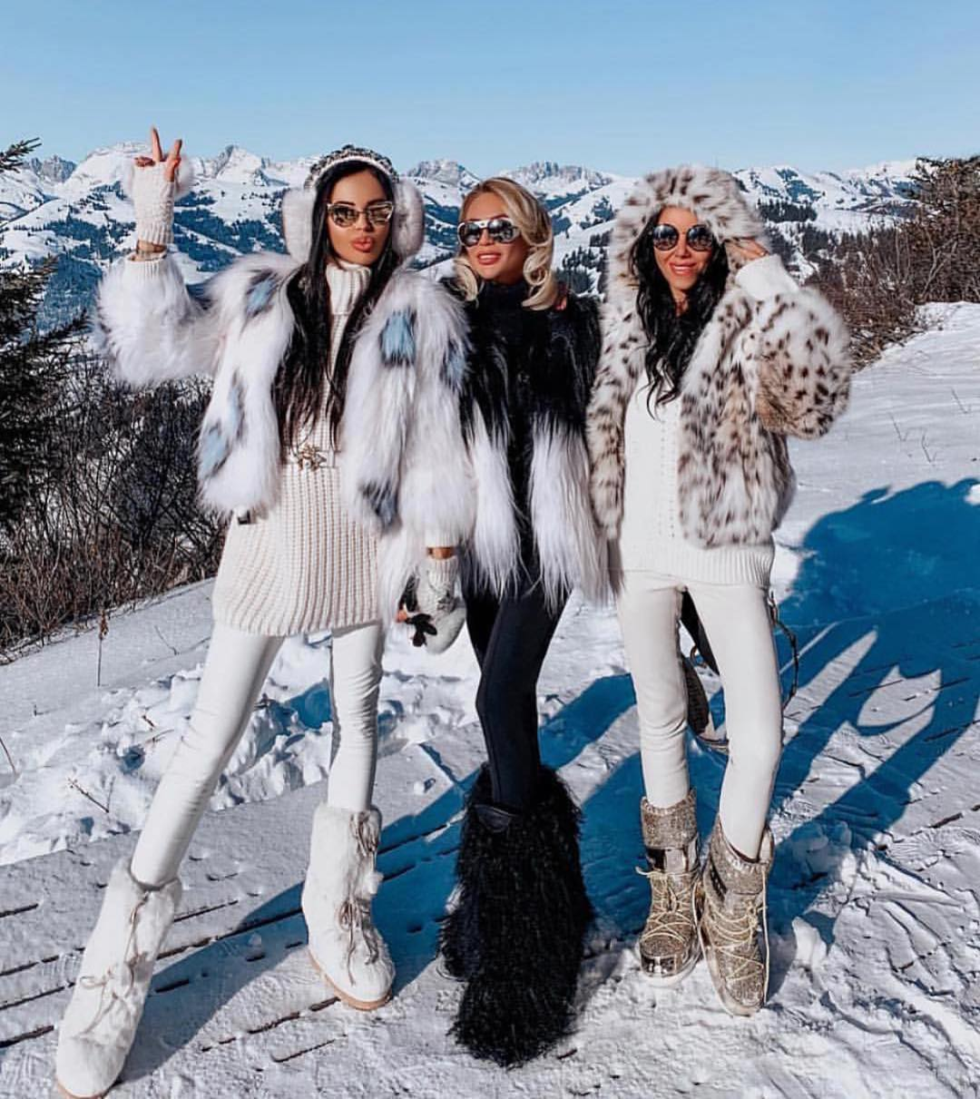 Fur Jackets With Skinny Jeans And Fur Boots For Winter 2019