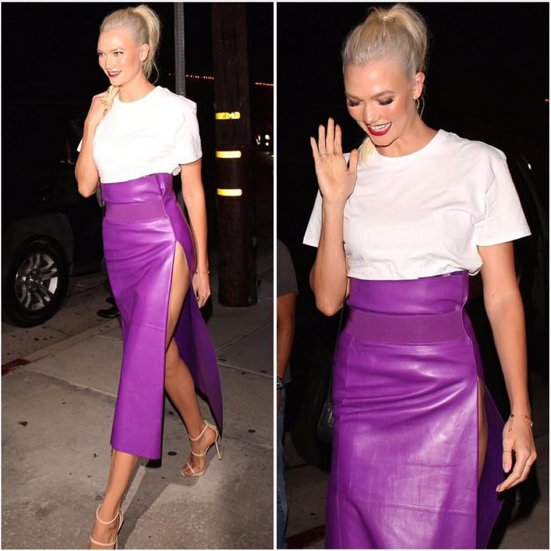 Long Purple Leather Skirt And White Tee For Summer Evening Parties 2020