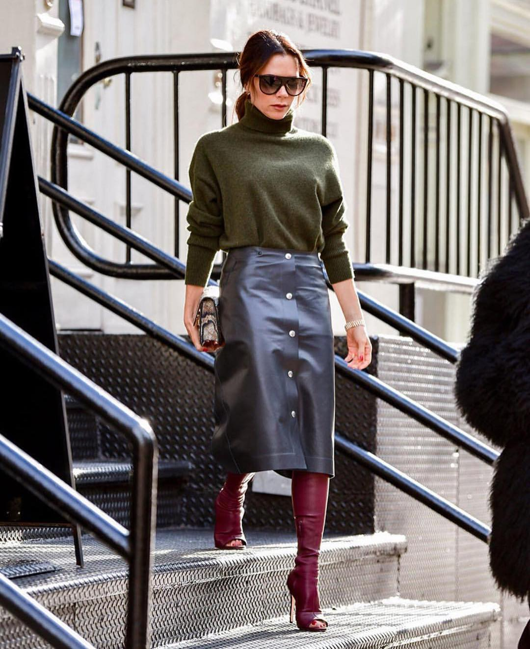 Front Buttoned Midi Leather Skirt With Olive Green Turtleneck For Fall Days 2019