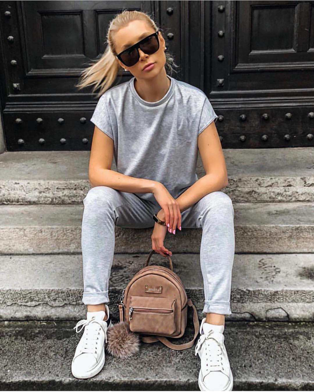Flat Brow Sunglasses With Tee, Sweat Jeans And White Trainers: Athleisure Basics 2019