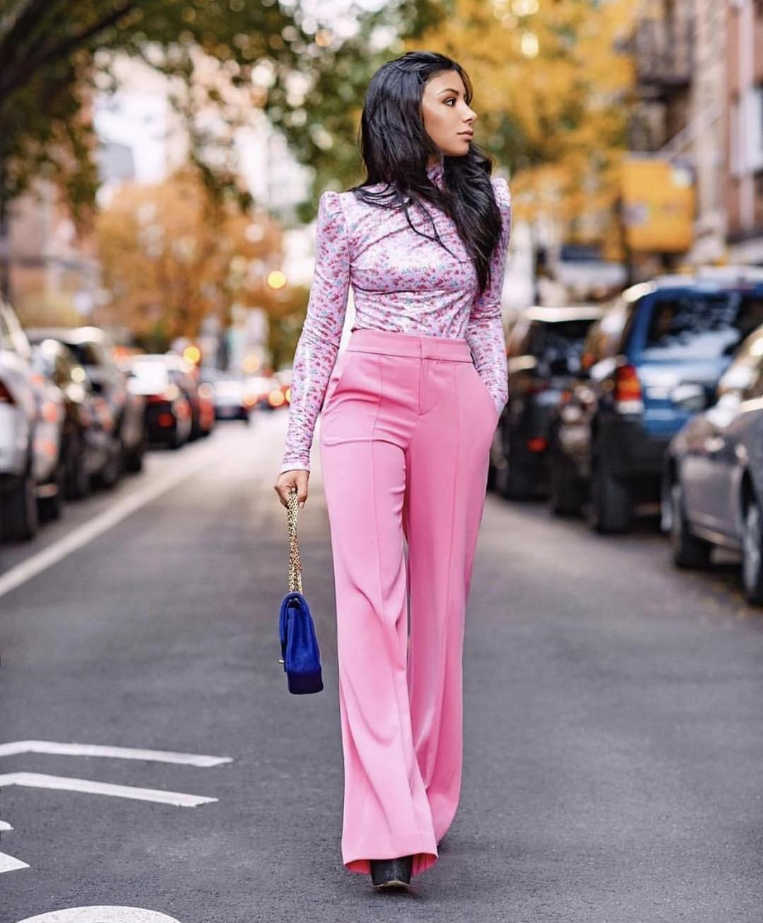 Floral Puff Sleeve Top And High Rise Pants In Pink For Elegant Street Walks 2021