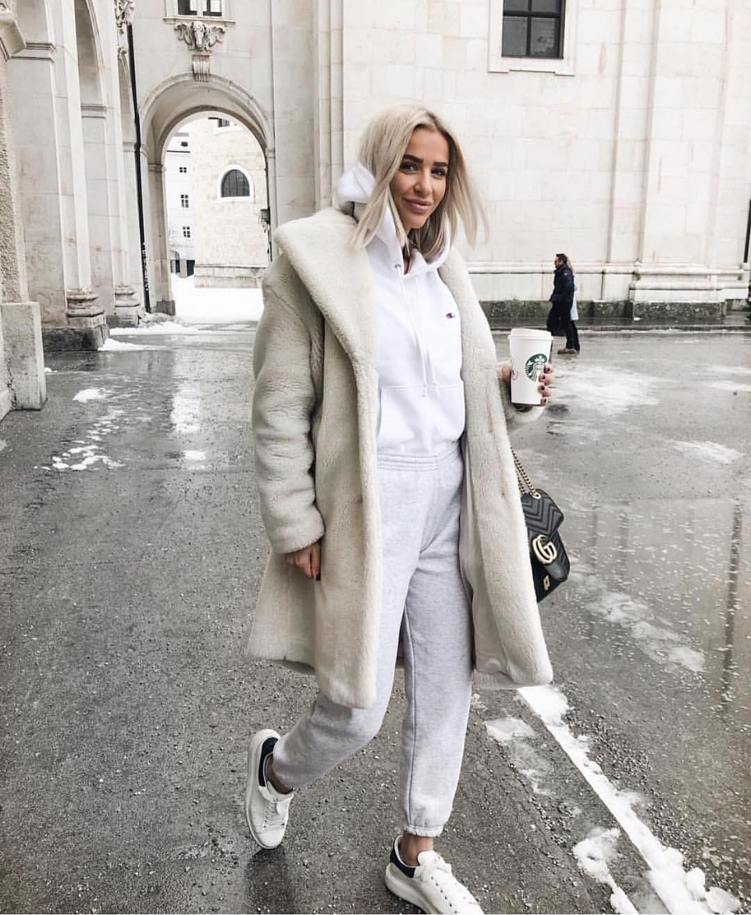 Teddy Bear Coat, Hoodie, Jogger Pants And Kicks: All White Sporty Essentials 2019