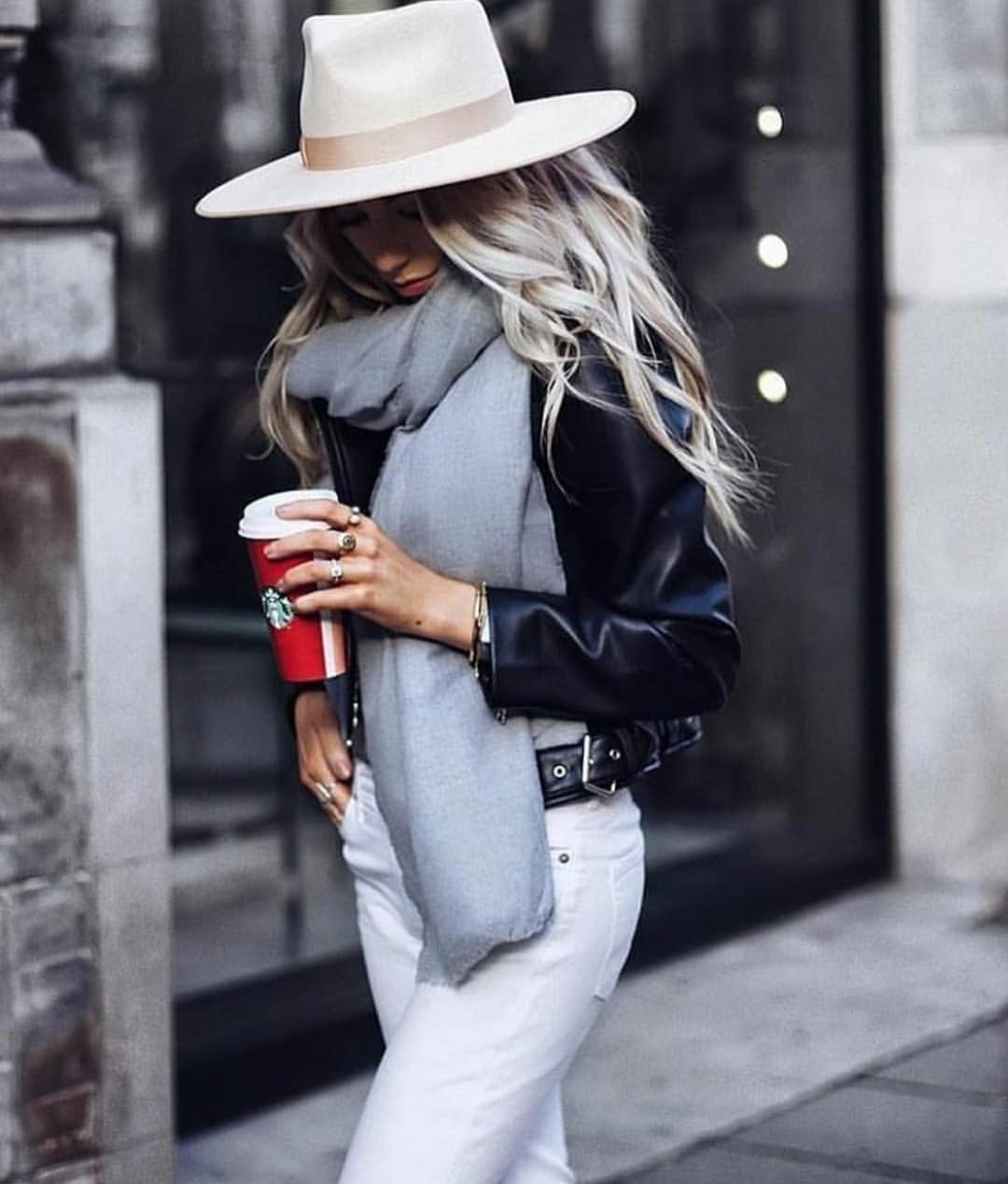 Fedora Hat, Grey Scarf With Black Leather Jacket And White Jeans: Fall Essentials 2020